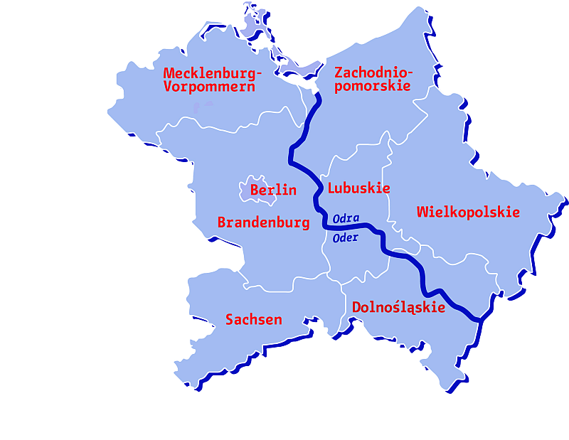Karte der Oder-Partnerschaft / Mapa Partnerstwa-Odra; CC BY-SA 3.0, Wikimedia Commons, User: EisJ