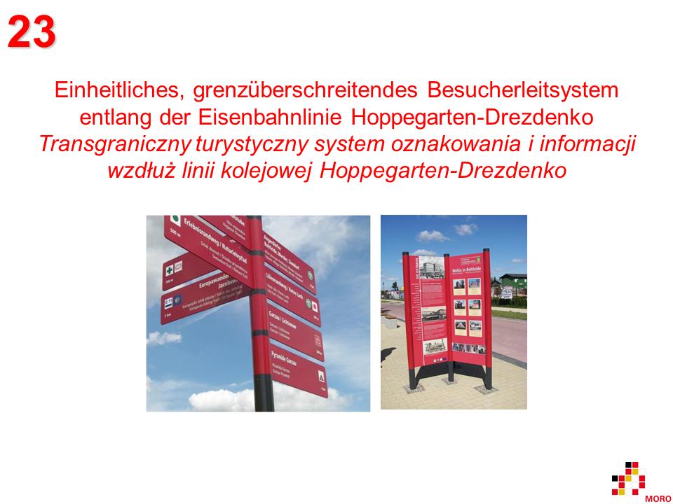 Besucherleitsystem / Turystyczny system oznakowania i informacji Hoppegarten – Drezdenko
