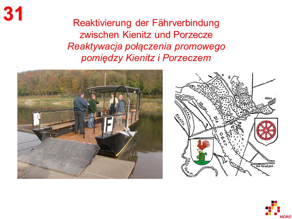 Fährverbindung / Połączenie promowe Kienitz-Porzecze