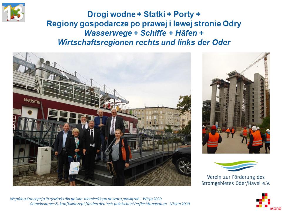 Drogi wodne + Statki + Porty + Regiony gospodarcze po prawej i lewej stronie Odry