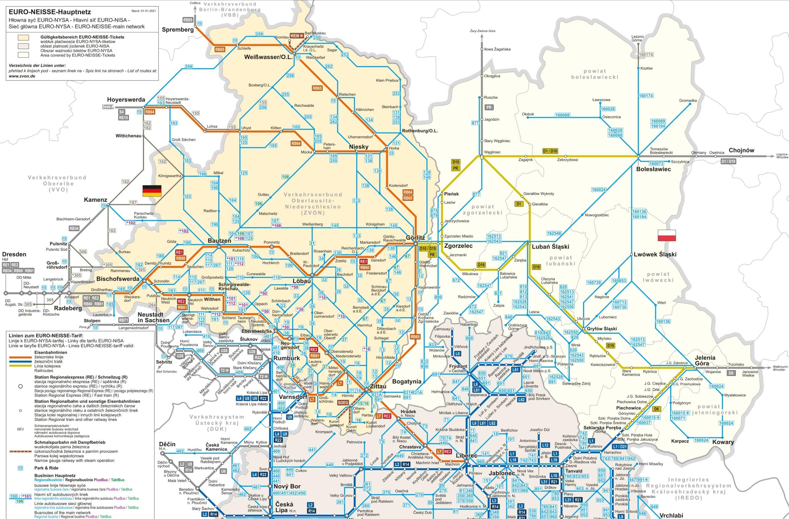 EURO-NEISSE-Hauptnetz (Ausschnitt), © ZVON